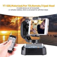 YT 500 Motorized Remote Control Pan Tilt Tripod Head Automatic Rotating Video Tripod Head for Camera Mobile Phone for iPhone