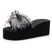 Hersevll/женские шлепанцы на каблуке 7 см; Новинка; женская летняя одежда; пляжная обувь на высокой толстой танкетке; пляжные Тапочки