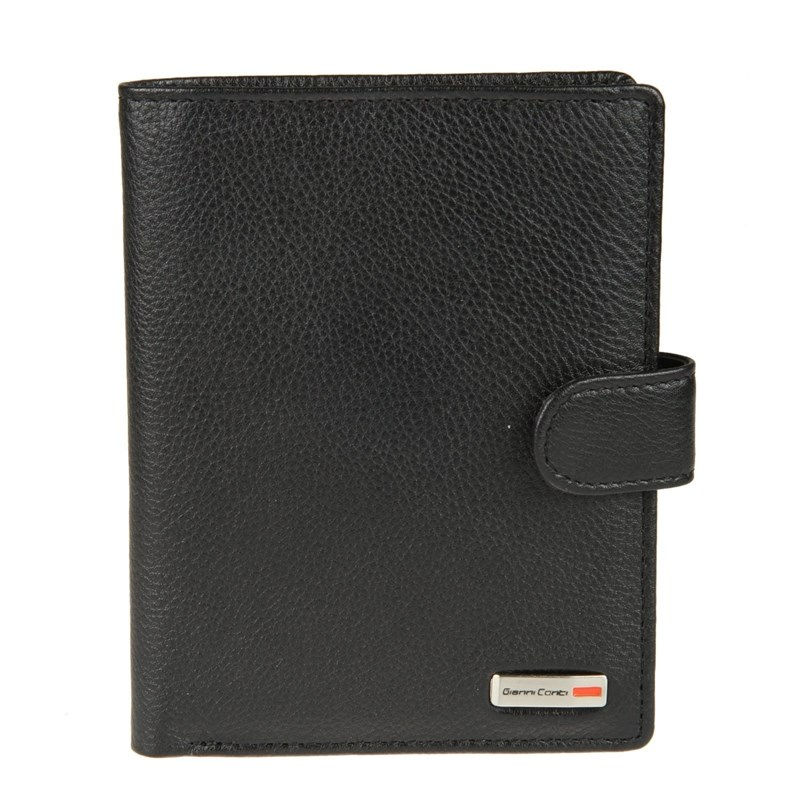 Coin Purse with the department for passport Gianni Conti 1607481 black new brand men s wallet high quality guarantee designer s crocodile purse for male fashion short card purse coin bill wallet