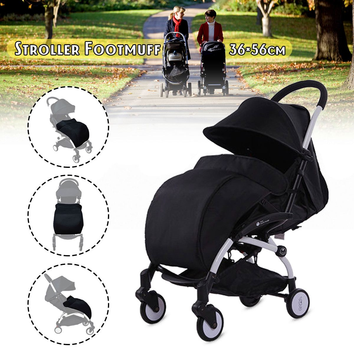 Footmuff for Carriages Pram Muff Case Bag Socks Pad Universal Baby Stroller Accessories Foot Cover Black