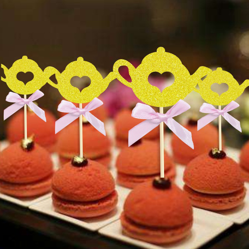 24 Pcs Bow Knot Teapot Shape Cake Toppers Cupcake ...