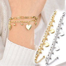 New Multilayer Chain Bead Heart Bracelets For Women Jewelry Gold Stainless Steel Bracelet Female Gift Woman Bracelet And Bangles(China)