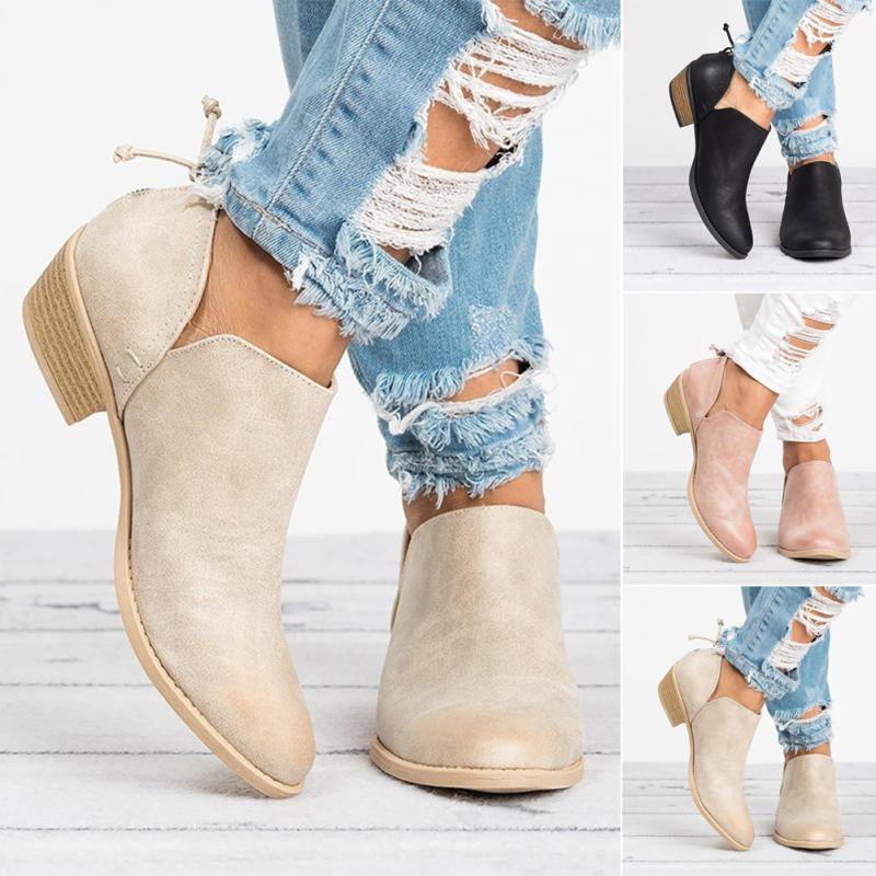 Spring Autumn Women Butterfly-knot Chelsea Boots Slip-On Med High Heels Pointed Toe Shoes Woman 5