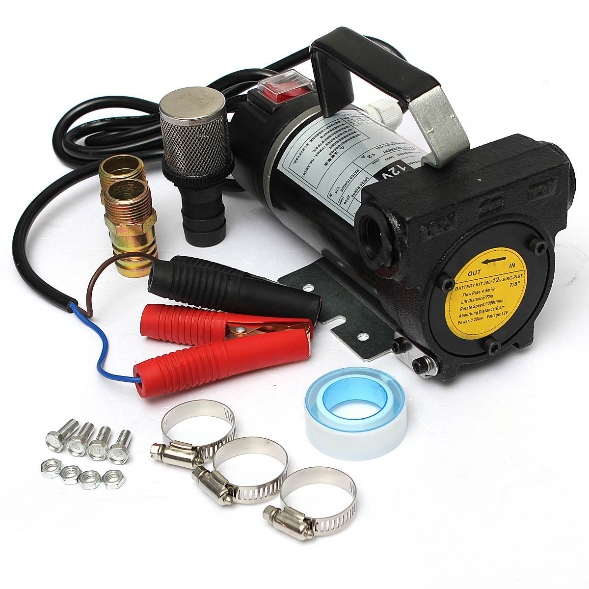 Pompe de transfert électrique portative d'extracteur de mazout de moto de voiture de 12 v 200 W 45L/Min noir