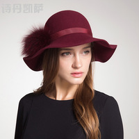 Wool Winter Hats for Women 2018 Wide Brim Fedora Hat Spring Autumn Pompoms Ball Hat Felt Hats Topper Cap Church Wedding Female