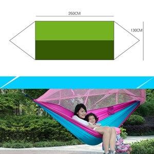 Image 2 - Портативный уличный гамак для кемпинга, подвесная кровать с москитной сеткой, высокопрочная, парашютная ткань, качели для сна на 1 2 человек