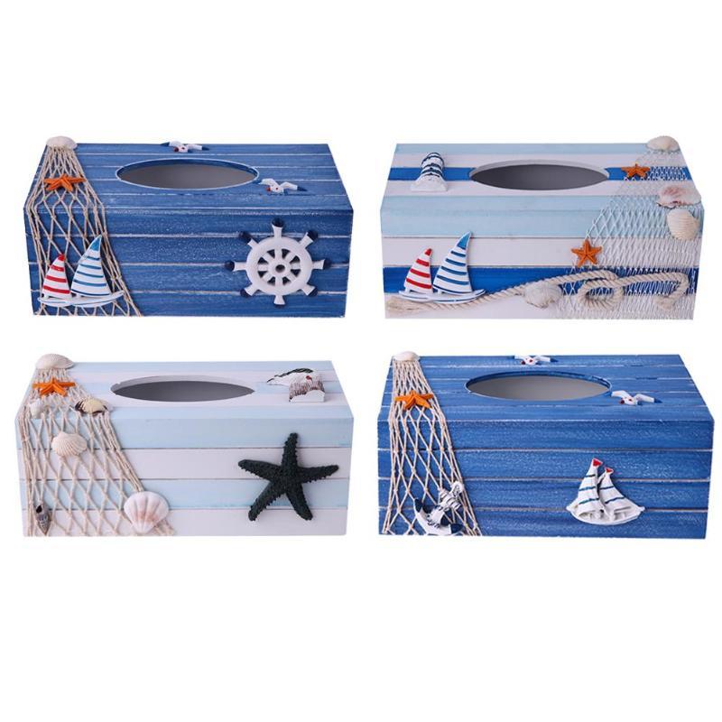 1 punid cajas de pañuelos de madera Mediterráneo Mar hogar estilo Toalla de coche servilleta soporte de papel caja de pañuelos contenedor