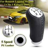 1 pièces cuir brillant couleur mate 5 vitesses pommeau de levier de vitesse de voiture pour RENAULT Laguna Megane 2 Clio 3 2003-2009 Kangoo 2009