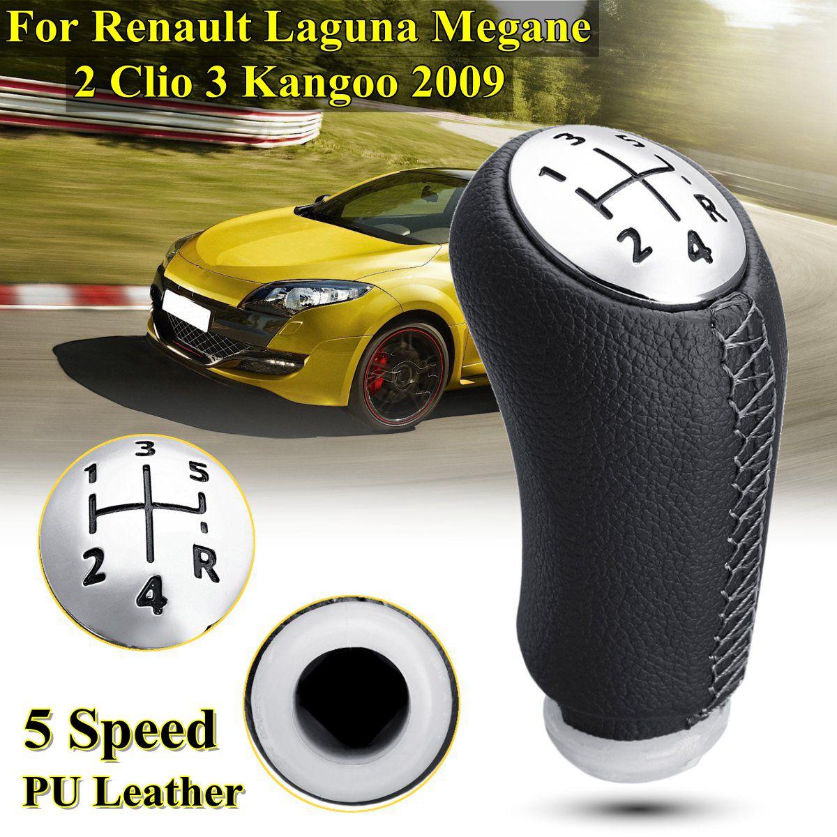 1 piezas de cuero de brillo de Color mate 5 velocidad de cambio de engranaje de mando la cabeza de palo para RENAULT Laguna Megane 2 Clio 3 2003-2009 Kangoo 2009