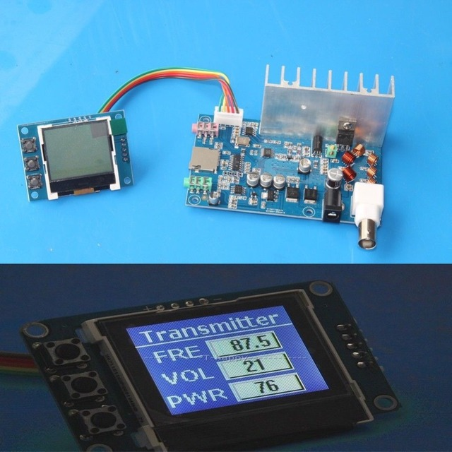 Receptor da estação de transmissão de rádio do display lcd de digitas da frequência do áudio estereofónico 76mhz 108 mhz do pll do transmissor de 5w fm