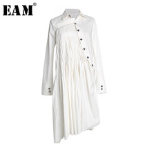 4ad81916d2 EAM 2019 New Spring Summer Lapel Long Sleeve White Pleated Irregular Shirt  Dress