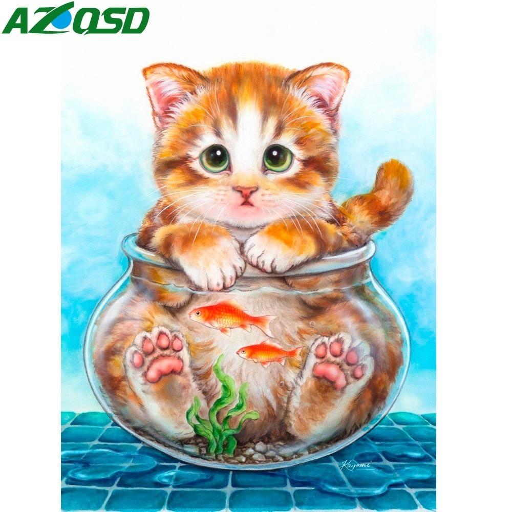 AZQSD 5D Pintura Diamante BRICOLAJE punto de Cruz Animales - Artes, artesanía y costura