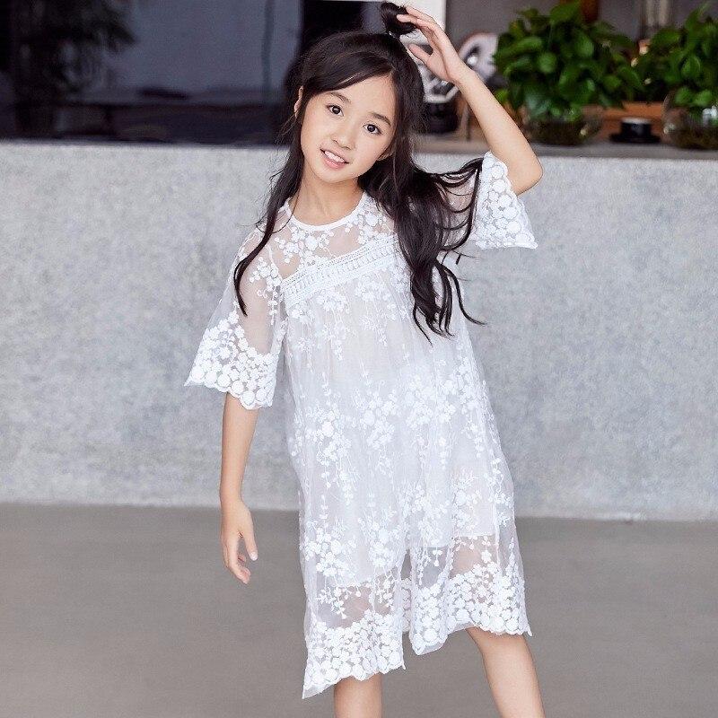 Dentelle broderie Floral bébé princesse robes fête blanc adolescent enfants robes pour filles à manches longues fille vêtements printemps été