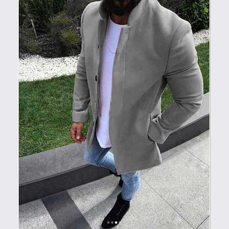Moomphya 2019 Новое поступление длинное стильное пальто Мужская однотонная ветровка Тренч мужская куртка с длинным рукавом мужская верхняя одежда