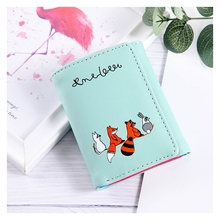 Cartoon Cute Print Wallet Korean Version Short Two-Fold Card Package Mini Coin Purse