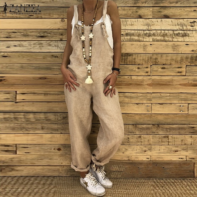 669ebe33e87 2018 ZANZEA Women Solid Strappy Party Long Jumpsuits Vintage Cotton Linen  Rompers Harem Overalls Autumn Casual Loose Dungarees-in Jumpsuits from  Women s ...