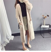 Long Sweater Cardigan Woman Overknee Thickening Knitting Hooded Loose Coat