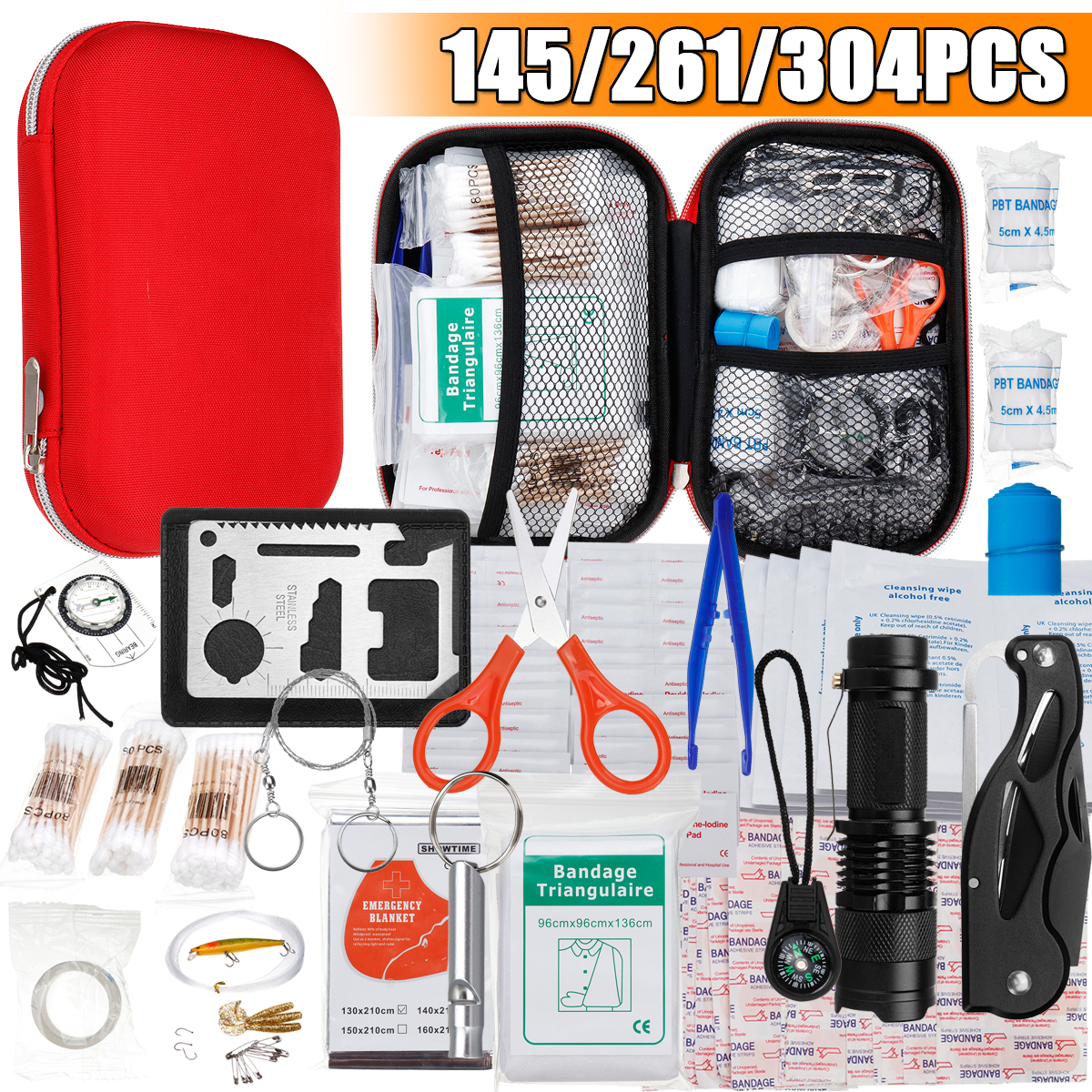 145/261/304 Pcs First Aid Kit Portable Outdoor Waterproof Emergency Medical Survival Box Bag Kit For Car Travel Camping Home