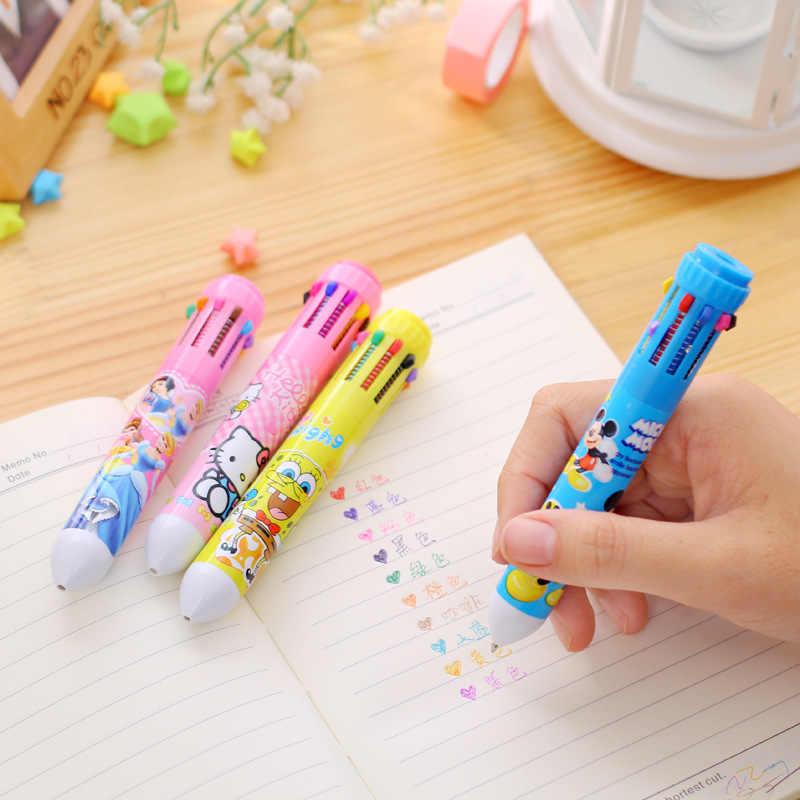 Cartoon Tiere Zehn Farbe Stifte Ball-Punkt Farbige Stift Schreibwaren Schule Liefert Für Kinder Kinder Studenten Bildung Zeichnung