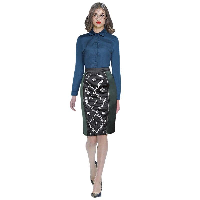 Fermeture À Piste Designer Femmes Manches T Éclair Costume Femme Tenues shirt Pièce Moulante Jupe Set Bleu Brodé Blouse 2 Longues Aawqwxz5d