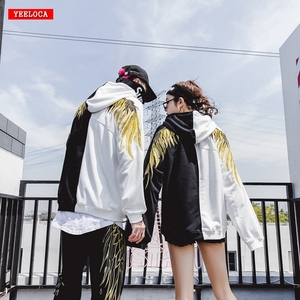 Image 1 - 2018hip hop gold thread embroidery wings more add wool fleece single men and women lovers sets loose BF hoodie jacket