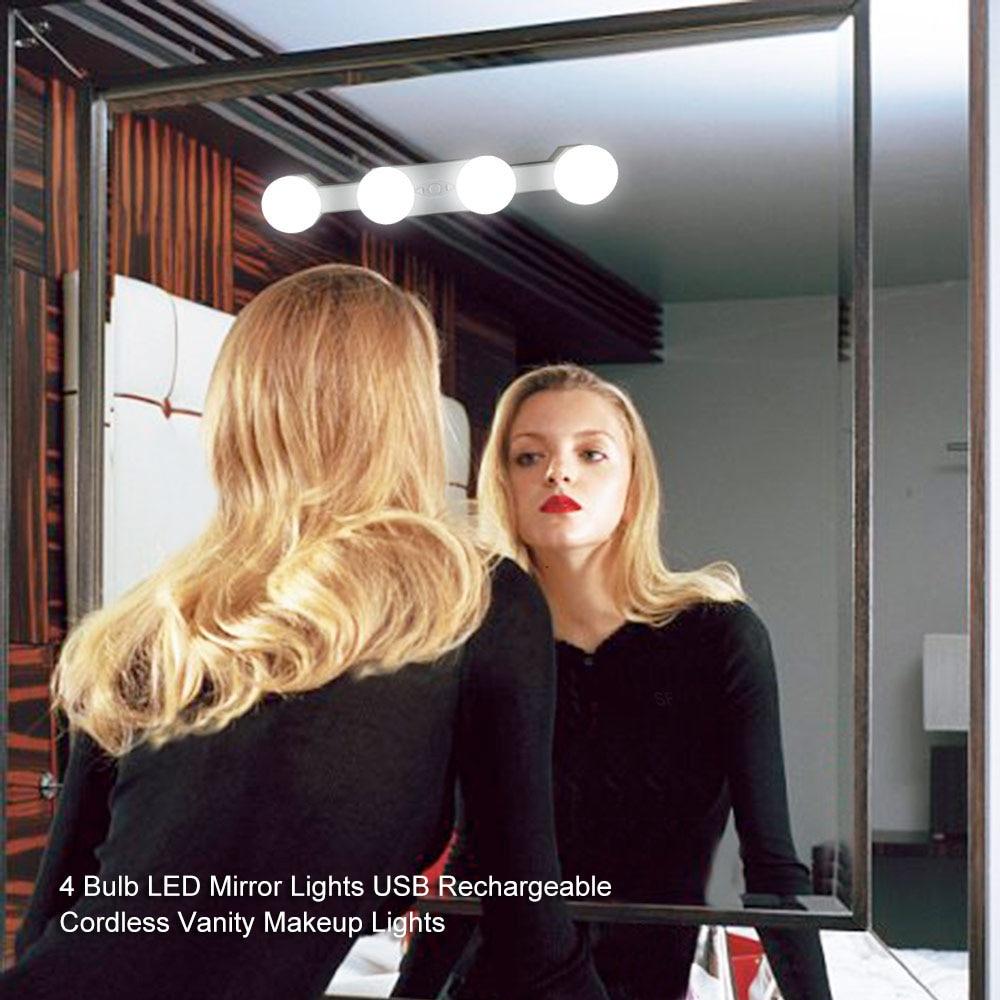 Schneidig Make-up Spiegel 4 Leds Licht Lampen Kit Usb Lade Port Kosmetische Beleuchteten Make-up Spiegel Einstellbare Helligkeit Lichter Husten Heilen Und Auswurf Erleichtern Und Heiserkeit Lindern Schminkspiegel