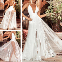 3c3901669b554 Stylish Women S Deep V Neck Straps Lace Backless Ladies Beach Cocktail New  Dress