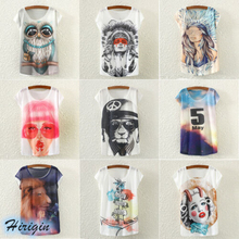 Summer Women Casual T-shirts HOT Short Batwing Sleeve O-Neck Loose Cartoon Print T-Shirt