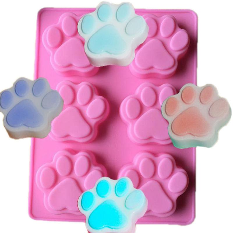 6 Cavities Cat Feet Handmade Soap Mold Silicone Mold Fondant Cake Decoration Biscuit Chocolate Candy Mould DIY Baking Tools in Soap Molds from Home Garden