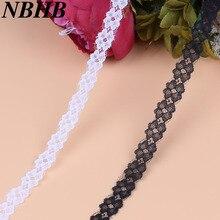 NBHB 10 ярдов вышитая кружевная тканевая тесьма 13 мм Широкий DIY Свадебные украшения черная белая кружевная отделка для шитья аксессуары