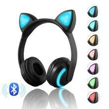 Bluetooth стерео наушники беспроводные кошачьи наушники мигающие светящиеся кошачьи ушные Игровые наушники 7 цветов светодиодный