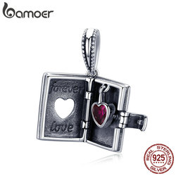BAMOER 925 Sterling Silver Forever Love Box Pendant Heart Book Shape Charms Fit Charm Bracelets & Necklace Silver Jewelry SCC980