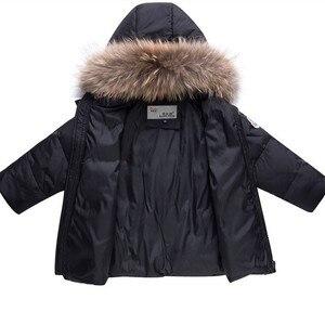 Image 4 - 2020 çocuk sonbahar kış ince aşağı ceket parka gerçek kürk erkek bebek tulum çocuklar coat snowsuit kar giyim kız giyim seti