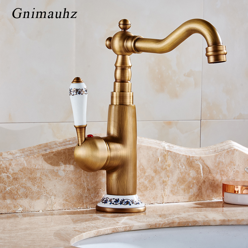 Bathroom Basin Antique Faucet European Retro Single Handle for NEW Classic Cold and Hot Water Sink