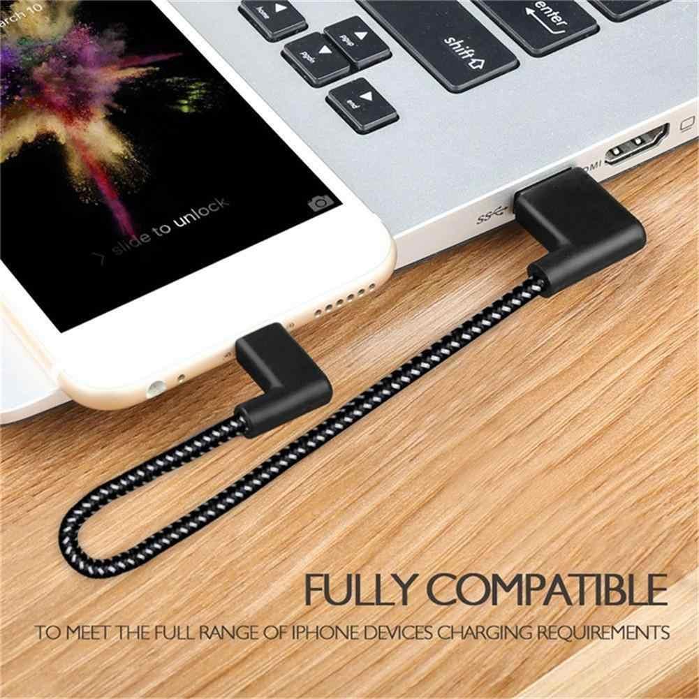 90 gradi a forma di L Sinistra Destra USB Del Telefono Mobile Cavo di Ricarica 2A Doppia Curva Cavo Dati Per Il Iphone Telefoni cellulari e Smartphone compresse