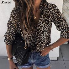 2019 Autumn Women Elegant Fashion Loose Holiday Party Blouse Ladies Long Sleeve Leopard Print Casual Shirt Xnxee