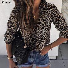 2019 Autumn Women Elegant Fashion Loose Holiday Party Blouse Ladies Long Sleeve Leopard Print Casual Shirt Xnxee