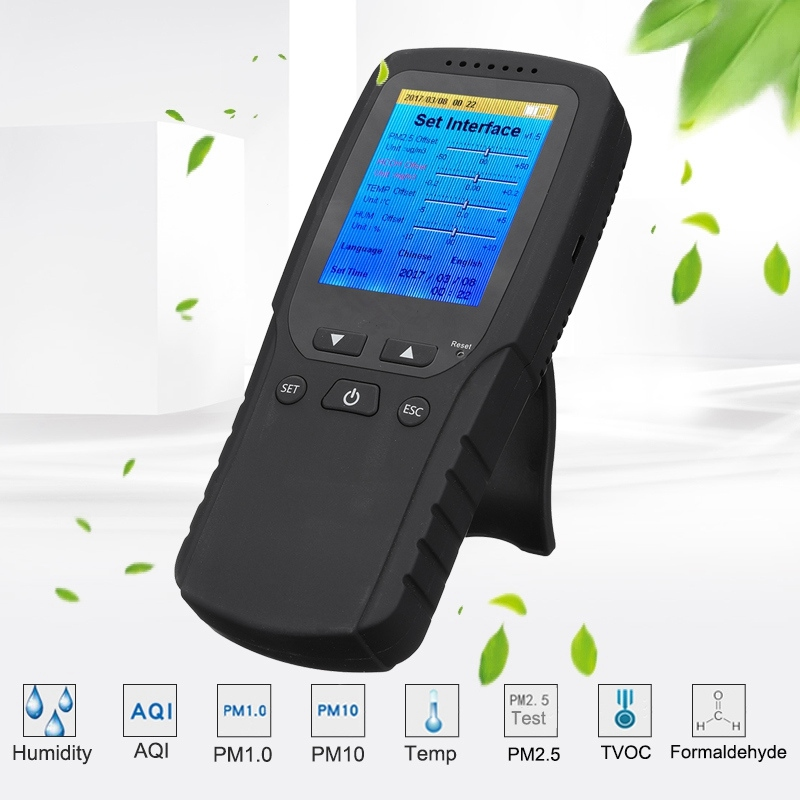 Multi-Functional LCD Formaldehyde TVOC Detector Gas Tester Automotive Exhaust Meter Sensor Monitor PM2.5 HCHO Meter Air Analyzer
