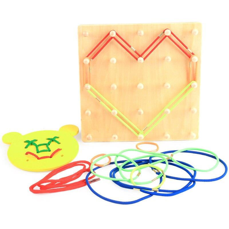 Nouveauté Montessori jouets en bois vent la corde sur les ongles en bois Math jouet éducatif bois ongles conseil ours conseil filetage plaque