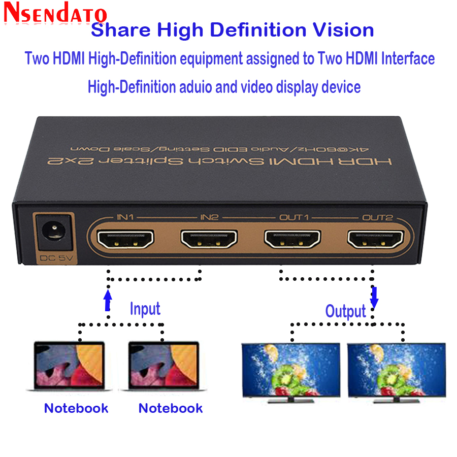 4K 2K HDR HDMI Switch Splitter 2x2 2 In 2 Out HDMI 4k 60Hz Scale Down