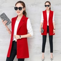 #0709 Spring Autumn Sleeveless Jacket Long Suit Vest Women Slim Blazer Vest Coat Waistcoat Office Lady Elegant Black/Red/Blue