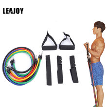 LEAJOY 11pcs/set Latex Tubing Expanders Exercise Tubes Strength Resistance Bands Pull Rope Pilates Crossfit Fitness Equipment(China)
