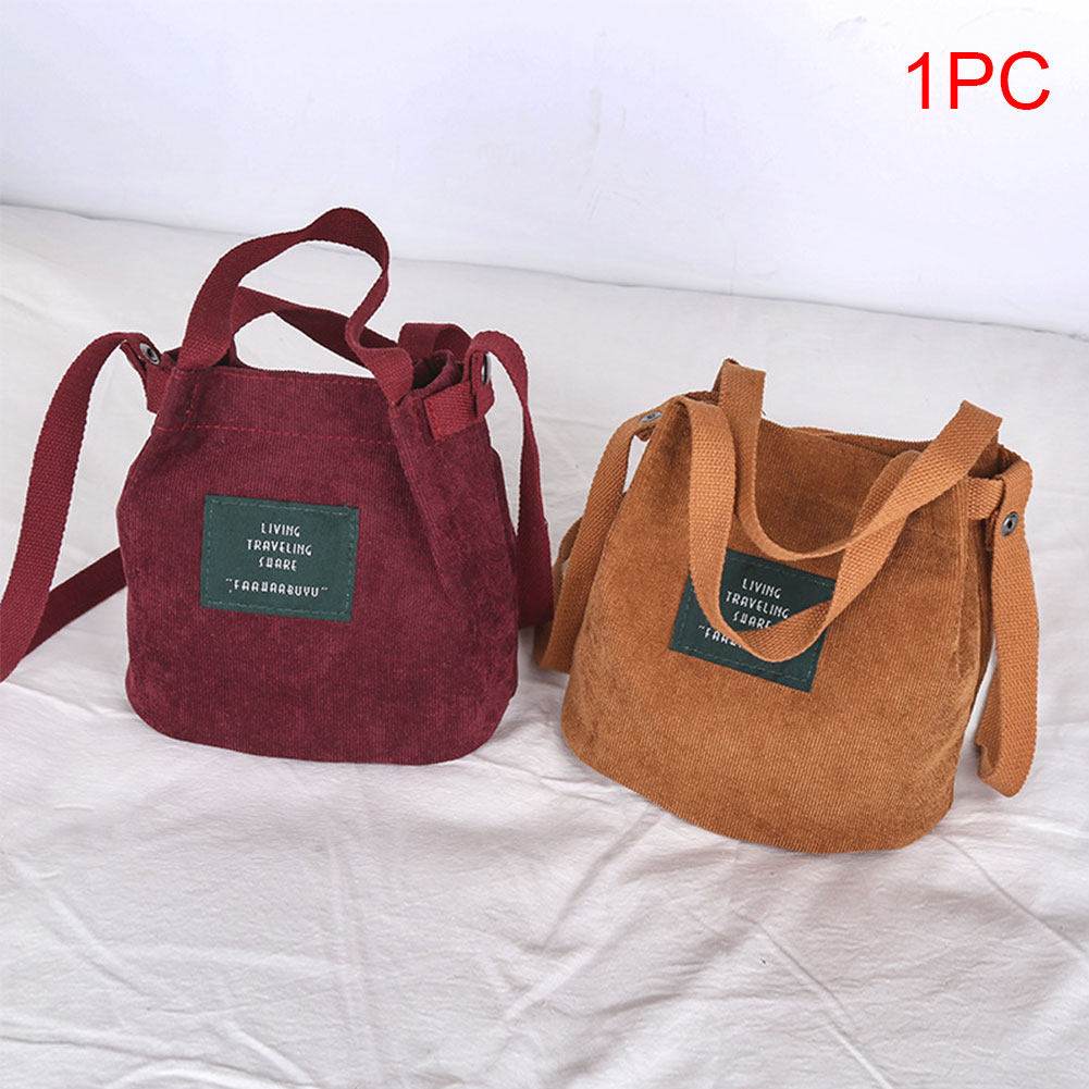 High Quality Women Bag Vintage Corduroy Shoulder Bags New Corduroy Bucket Shoulder Handbags