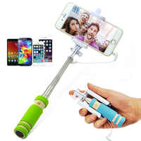 Ultra Mini Selfie Stick 3.5mm Audio Cable control Groove Extendable Handheld Folding Wired Phone Clip 270 degree rotation