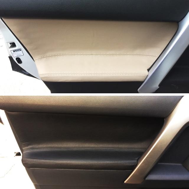 4pcs Microfiber Leather Interior Door Panel Cover Sticker Trim For Toyota Prado 2010 2011 2012 2013 2014 2015 2016 2017 2018