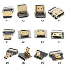 FPV مايكرو HDMI مايكرو HDMI 90 درجة محول 5 سنتيمتر 100 سنتيمتر FPC الشريط شقة HDMI كابل الملعب 20pin للتصوير الجوي مولتيكوبتر
