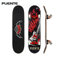 PUENTE 608 ABEC 9 Adult Four wheel Skateboard Double Snubby Maple Skateboard Shock Absorption Scooter Skate Board Longboard