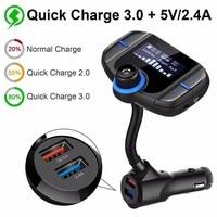 BT70 Bluetooth FM Transmitter Car Kit Wireless Hands free MP3 Player QC3.0 Dual USB Ports Car Charger AUX LCD Display
