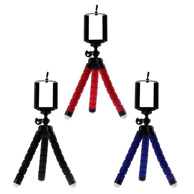 Esponja flexível Octopus Tripé Para Câmera de Telefone Celular Titular Clipe de Smartphones Monopé Stand Tripe Polvo Mini Tripé Para Telefone