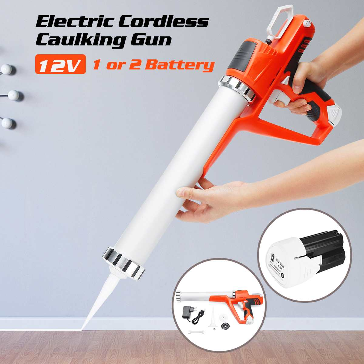 Guns Caulking Liion-Battery Cordless Electric Handheld Diy-Tools-Kit Glass 12V Hard Max
